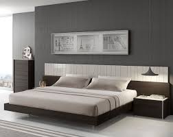 Selex Ebony Modern Platform Queen Bed With Two Nightstands In - Contemporary platform bedroom sets
