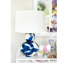 hailey hand painted gourd shape brushstroke navy table lamp