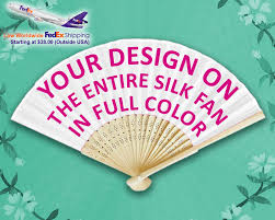 custom hand fans no minimum promotional silk fans full color personalized hand fans