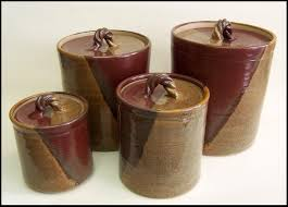 canister set handmade pottery canisters 0513001 kitchen stuff stoneware pottery canister set of four rustic copper