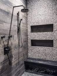 wood look tile and pebbles in shower bench seat of stone large