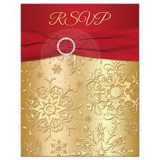 Gold Invitation Card Winter Wedding Rsvp Card Red Gold Snowflakes Printed Ribbon