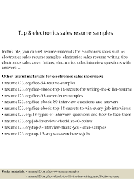 Electronic Resume Example by Top 8 Electronics Sales Resume Samples 1 638 Jpg Cb U003d1436233361