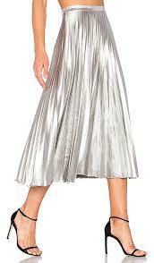 pleated skirt bardot pleated skirt in metallic silver revolve