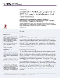 assessment of point of care diagnostics for g6pd deficiency in
