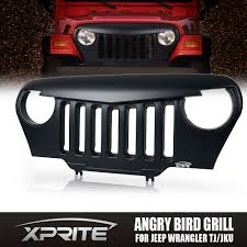 light brown jeep wrangler front matte black mean angry bird grille grill for 97 06 jeep