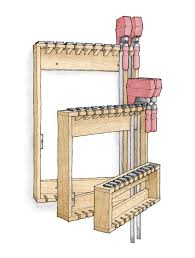 Wood Clamp Storage Rack Plans by Space Saving Rack For Bar Clamps Finewoodworking