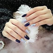 amazon com yunail 24pcs solid cute kawaii grey black false nails
