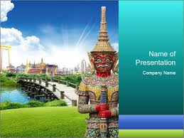 spiritual statue in thailand powerpoint template u0026 backgrounds id