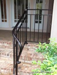 Porch Steps Handrail Simple Elegant Wrought Iron Railing No Pickets Cast Iron Scroll