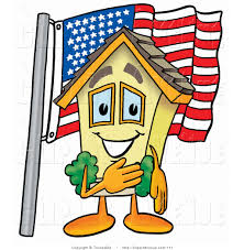 American Flag House Avenue Clipart Of A Patriotic Yellow House Mascot Cartoon