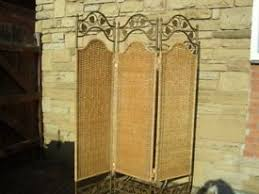 Rattan Room Divider Shabby Chic Farmhouse Heavy Quality Rattan And Metal Bronze Leaf