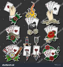 vector playing cards traditional tattoo designs stock vector