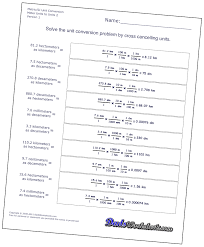 metric system conversion practice worksheet worksheets