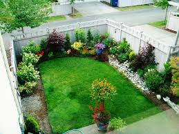simple front lawn landscaping ideas with grass and flower garden