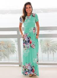 maxi dress with sleeves floral print neck sleeve high waist maxi dress oasap