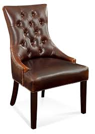 Dining Room Parsons Chairs by Fortnum Tufted Nailhead Parsons Chair Brown Leather Finish