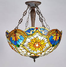 Stained Glass Ceiling Light New Legend Style Stained Glass 2 Light Inverted Hanging