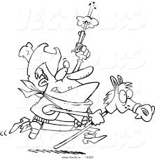 vector of a cartoon cowboy shooting a gun and riding a stick pony