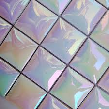 ceramic tile sheets square iridescent mosaic pattern kitchen