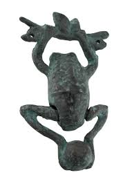 daring dangling frog verdigris finish cast iron door knocker