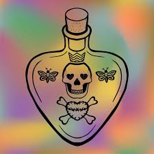 outline tattoo love potion or poison bottle vector with skull and