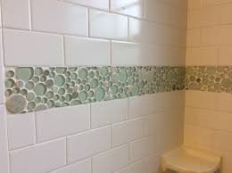 Green Powder Room Subway Tile With Bubble Accent Tile Powder Room Pinterest