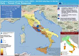 map of italy images italy forest fires response dg echo daily map 31 08 2017