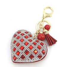 crystal key rings images Romantic women key chain love heart pendant leather tassel jpg