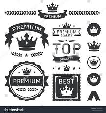 set royal crown badges vector labels stock vector 140174077