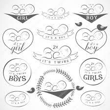 vintage baby and boy badge set design elements for greeting