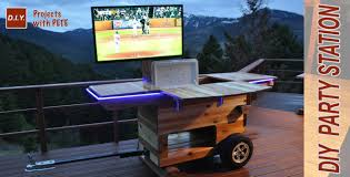 Outdoor Cooler Cart On Wheels by Diy Party Station Complete Rolling Party Cart Youtube