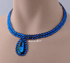 blue crystal necklace swarovski images Ballroom necklace swarovski crystal simple pear in blue ballroom jpg
