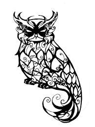 horned owl clipart outline pencil and in color horned owl
