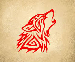 tribal wolf portrait vinyl decal moon dogs tribal