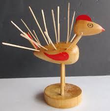 vintage mid century wood chicken turkey bird toothpick holder hor