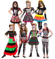 day of the dead girls fancy dress halloween skeleton skull kids