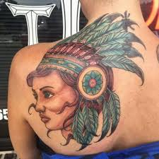 tattoo back face traditional indian native girl face tattoo on women left back shoulder