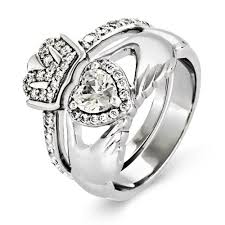 claddagh wedding ring silver cz claddagh engagement ring set s addiction