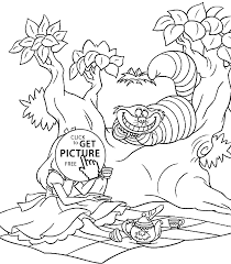 coloring download alice wonderland tea party coloring pages