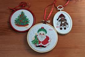 cross stitched ornaments sweet alchemy