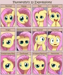 Mlp Fluttershy Meme - fluttershy 12 expressions by solar slash deviantart com on