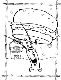 spongebob coloring pages plankton with krabby patty kidstuff