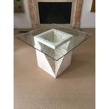 stone and glass coffee table mactan stone glass side table chairish