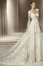 v neck lace wedding dresses with sleeves and handmade beading v