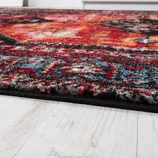 Wohnzimmer Rot Orange Modern Short Pile Designer Rug Oriental Design Black Red Turquoise