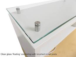 Glass Reception Desk Emerge Glass Top L Shaped Reception Desk W Drawers U0026 Led Light