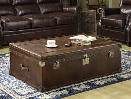 Trunk Coffee Table With Storage Faux Leather Trunk Coffee Table With Storage Combined With Leather