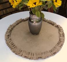 Home Decor With Burlap Round Burlap Table Centerpiece Burlap Table Topper With