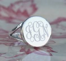 monogramed rings monogrammed ring in sterling silver for women or christmas present